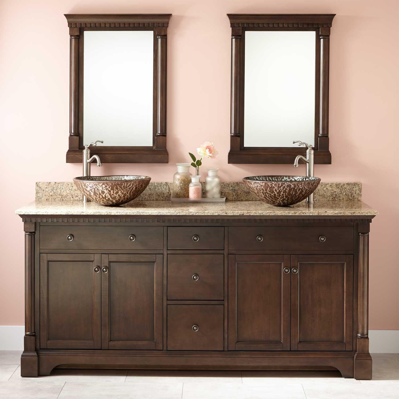 72 Claudia Double Vessel Sink Vanity Antique Coffee Bathroom