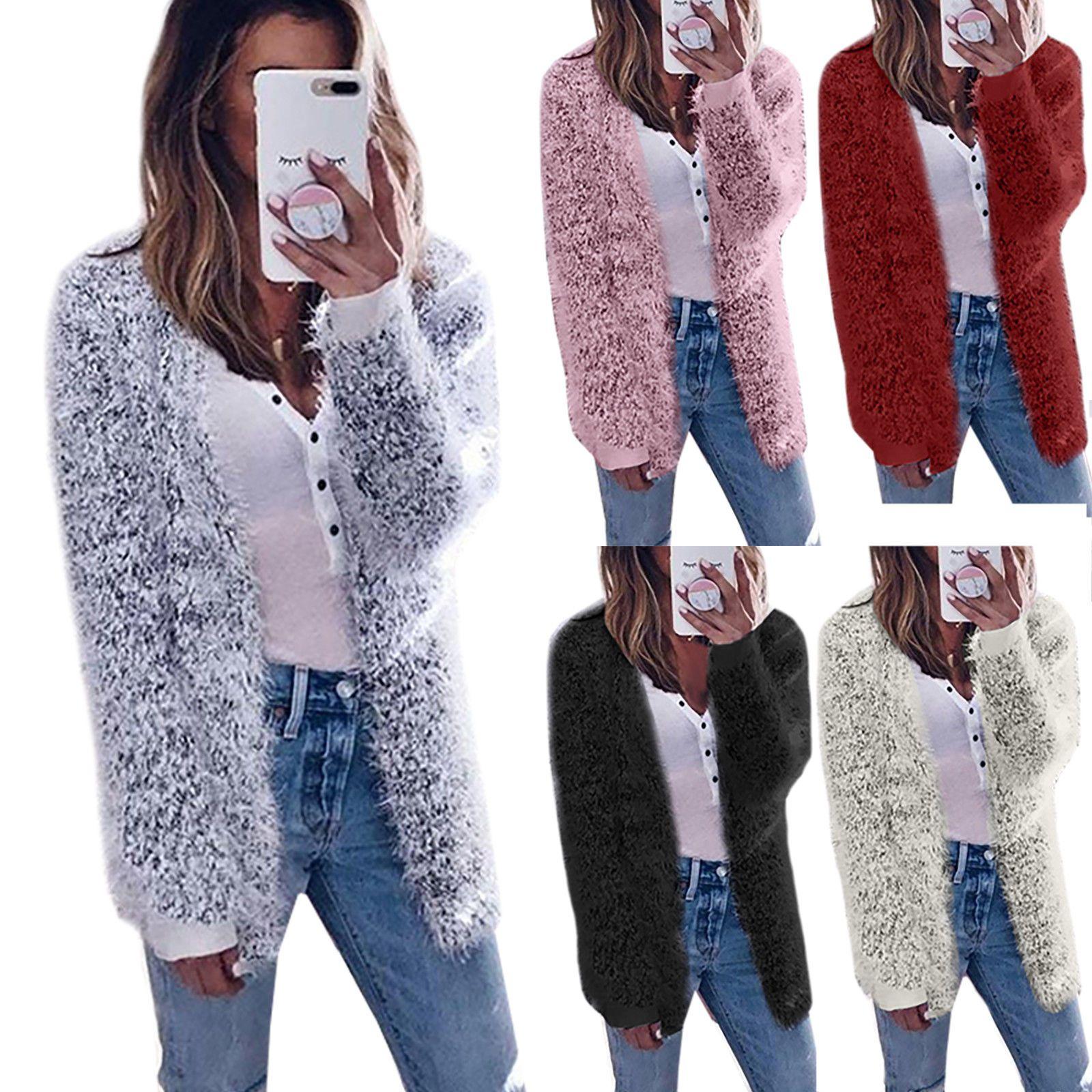 11 15 Womens Faux Fur Long Sleeve Outwear Coat Jacket Tops Winter Warm Sweater Casual Womens Womens Faux Fur Coat Winter Coats Women Faux Fur Cardigan [ 1600 x 1600 Pixel ]