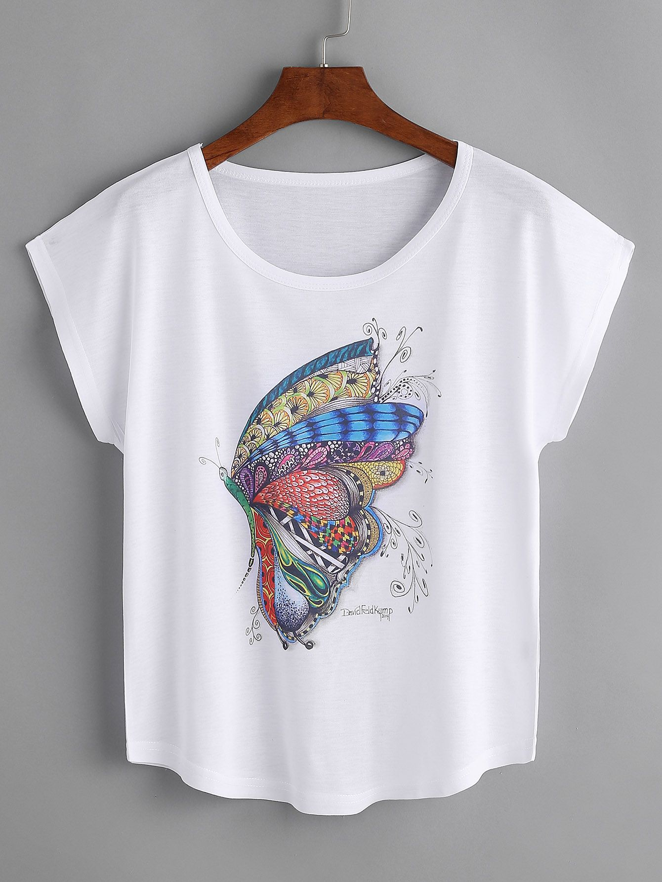 e4e377183ef Camiseta con estampado de mariposa-(Sheinside) | BUTTERFLY в 2019 г ...