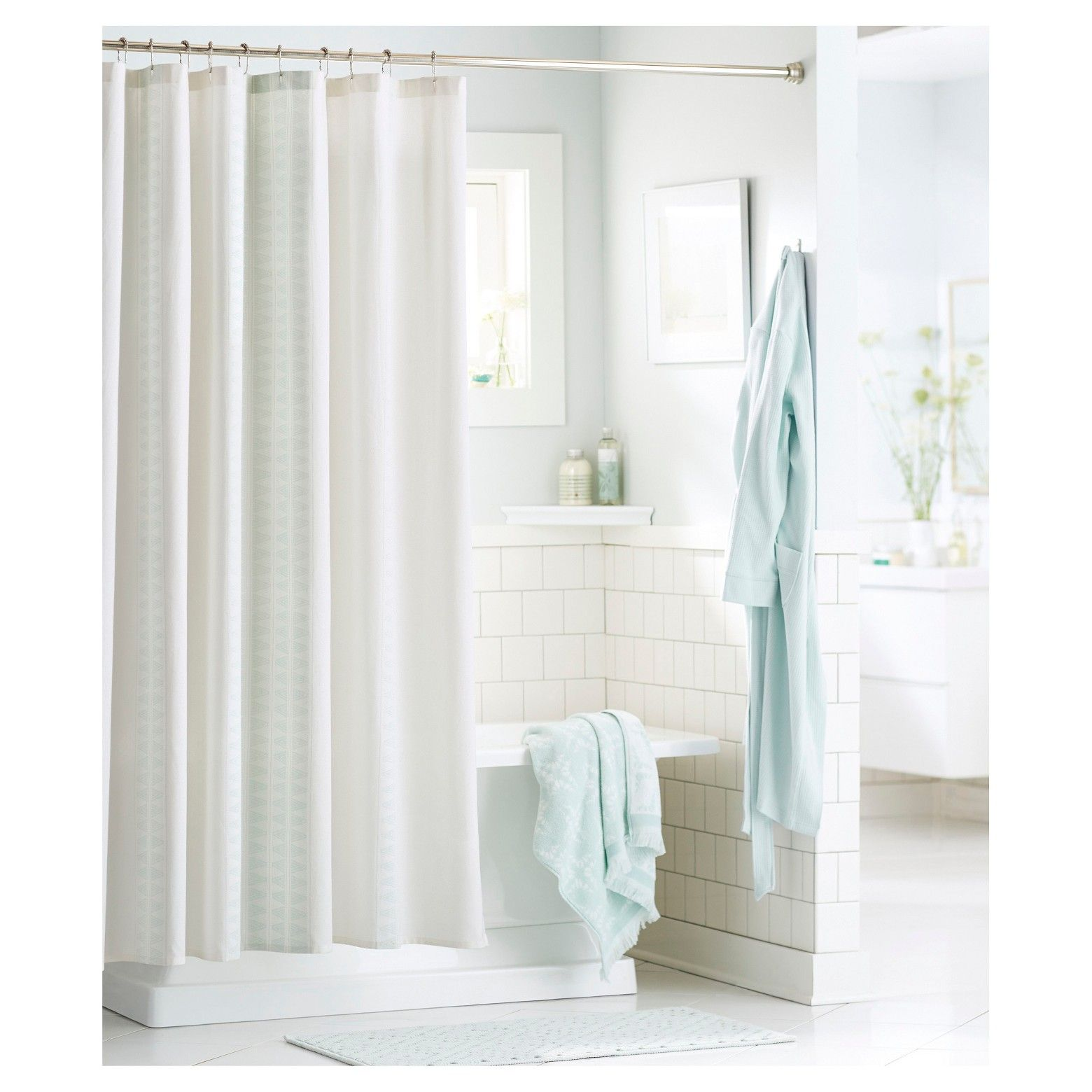 Diamond stripe shower curtain green