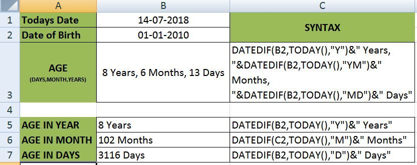 Calculate your age with excel excel syntax calculator