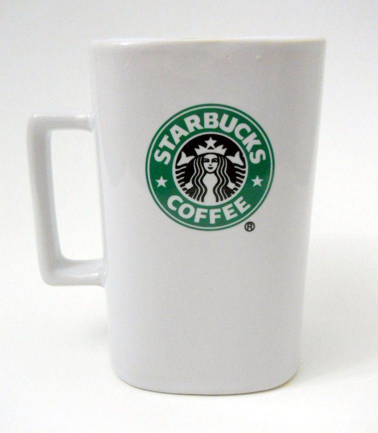 Starbucks Square Coffee Mug White Green Mermaid Logo 12 Fl