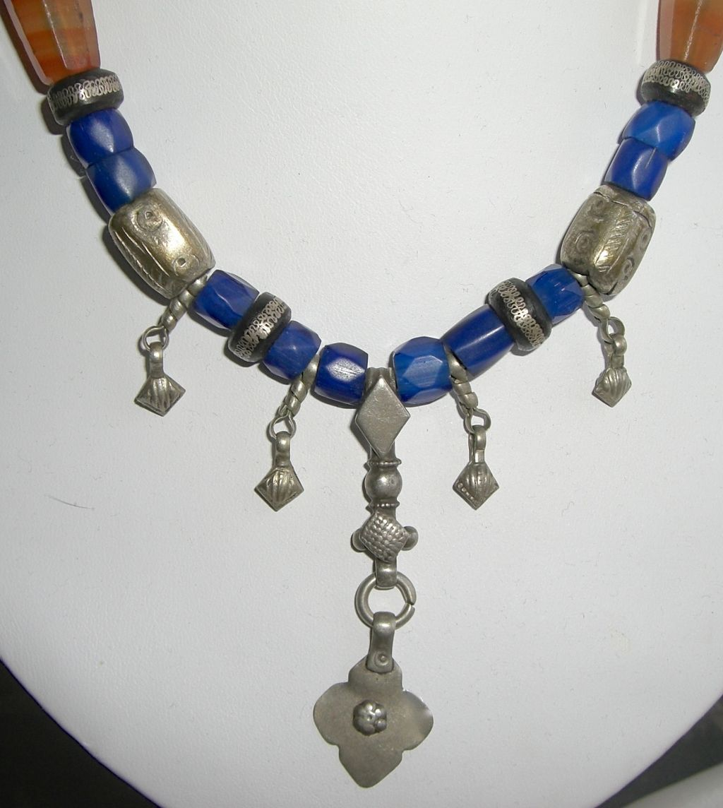 Antique Tribal Moroccan Berber Trade Bead Sterling Necklace