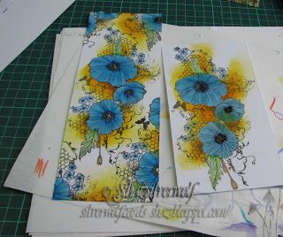 Blue Poppies on a Yellow Background - Silverwolf Cards