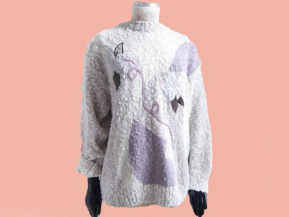 80s sweater women's novelty knit pullover ecru white flower patches 80s 90s  retro sweater long sleeves sweet Pastell Colors | 80s fashion, Pullover and  ...