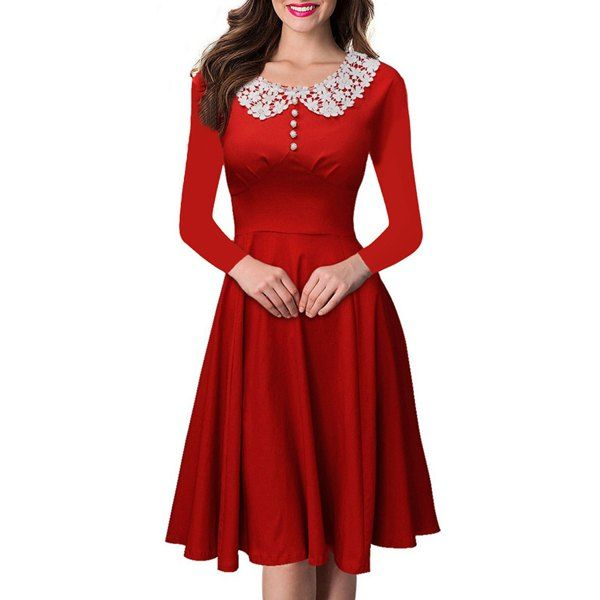 Vintage Peter Pan Collar Long Sleeve Lace Spliced Women's Dress