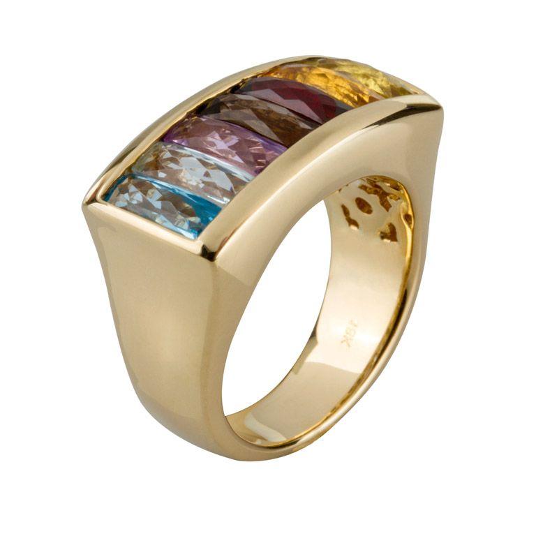 Sortija En Oro Amarillo De 18 Kilates Con Piedras Semipreciosas Y Diamante 18k Yellow Gold Ring With Semiprecious Tons And Diamond Aksesuarlar Yüzük