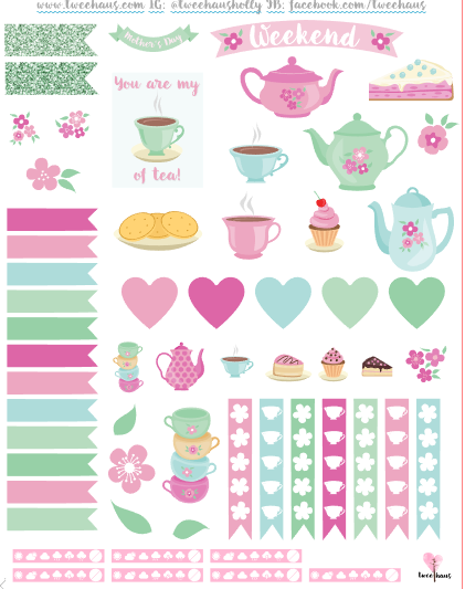 free mother 39 s day printable tea party themed planner stickers to decorate weekly planners for. Black Bedroom Furniture Sets. Home Design Ideas
