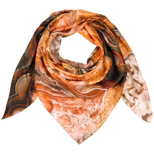 Weston Scarves Agate Silk Scarf - Brown ($265) ❤ liked on Polyvore