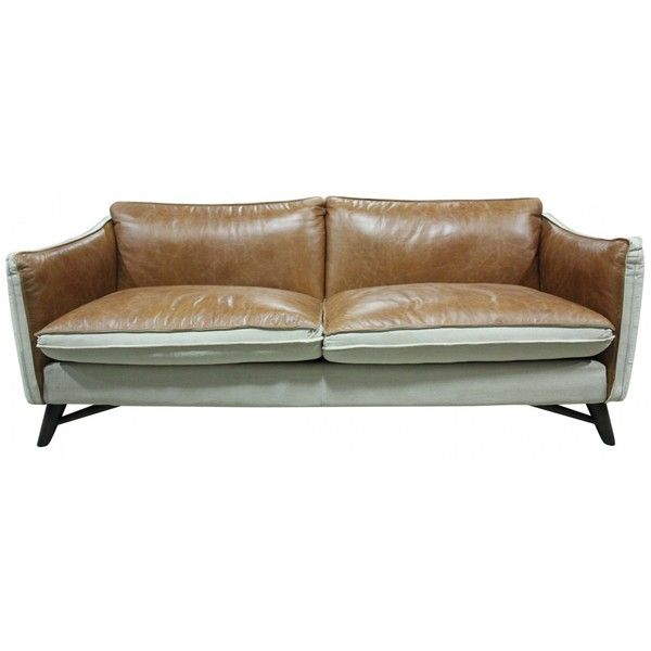 Rhean Leather And Linen 2 5 Seater Sofa