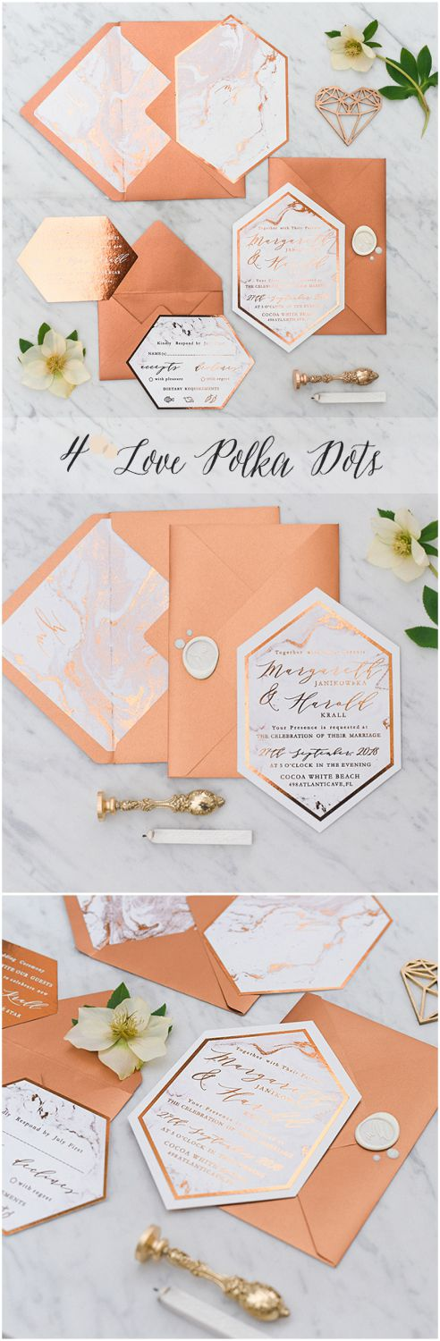 Brand New Design ! Unique Copper & MarbleWedding Invitations #sponsored