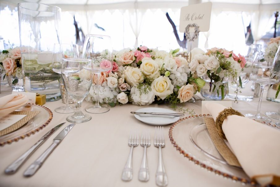 White and pink centerpiece long low sugarman floral