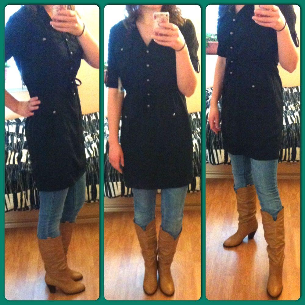 Cowboy Boots Skinny Jeans Long Black Shirt Long Black Shirt Clothes Cute Outfits [ 1000 x 1000 Pixel ]