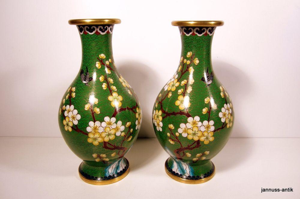 2 wunderschöne alte große Cloisonne Vasen 24 cm !! wertvolle ...