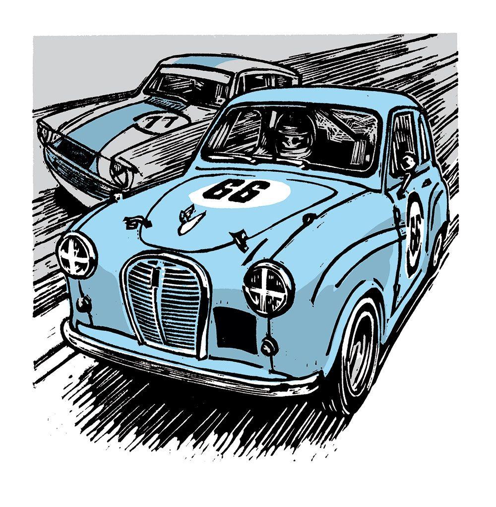 Austin A35 Race Car Linocut illustration Линогравюра