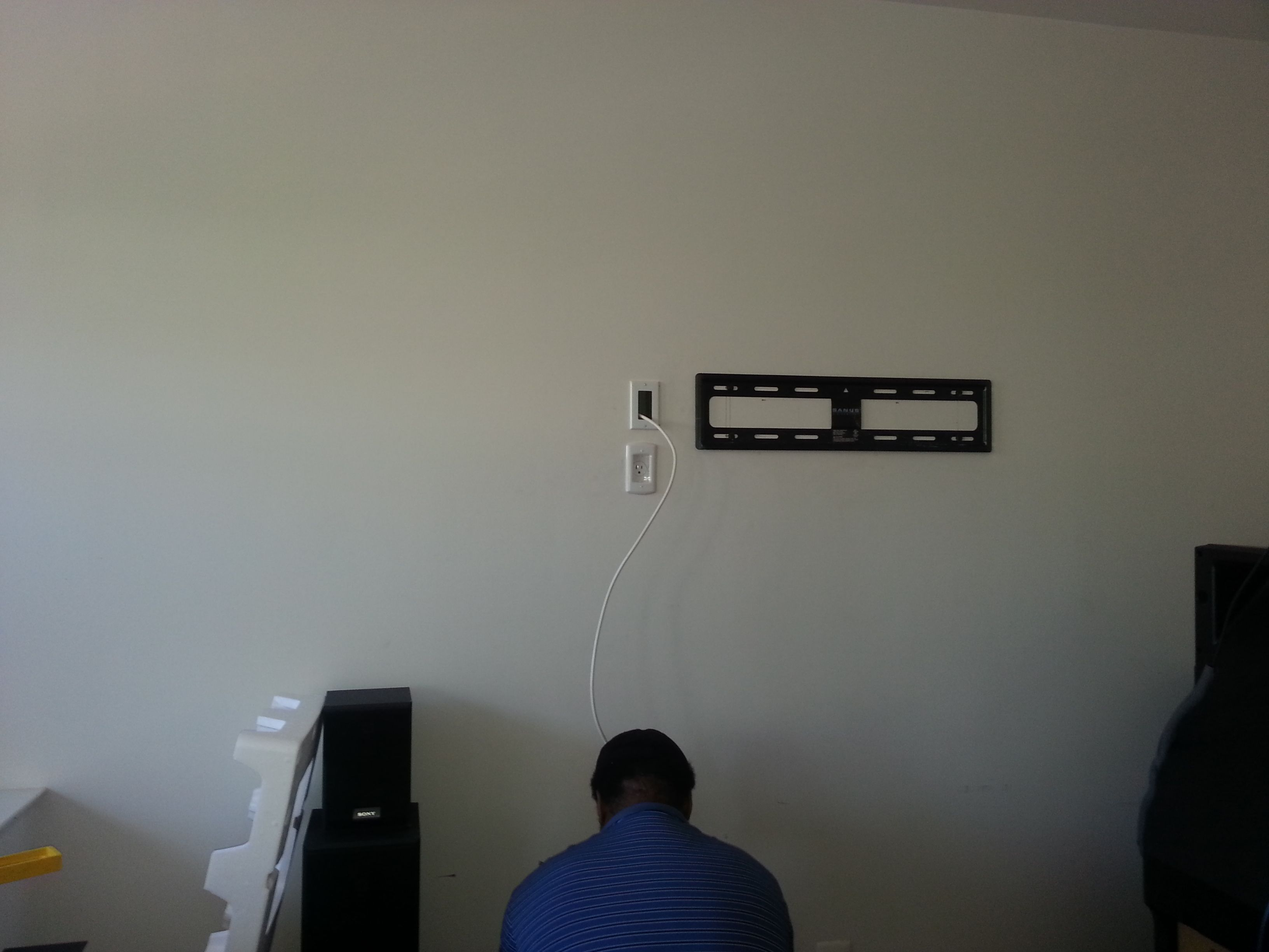 Amazing Hdtv Wall Mount With Electrical Outlet And Low Voltage Wiring Outlet Wiring 101 Tzicihahutechinfo