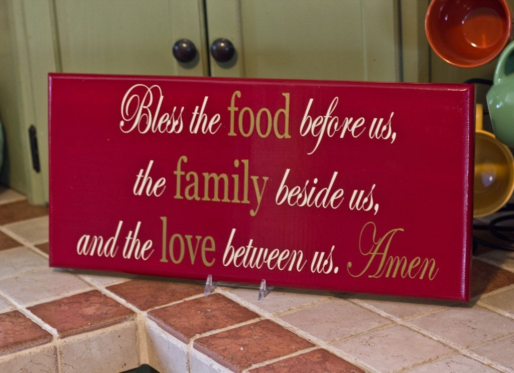 Decorative Wooden Kitchen Signs Brilliant Bless The Food Before Us The Family Besidethefreckledowlstudio Decorating Design