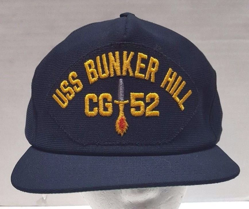 ba1dcd944c8 USS Bunker Hill Navy Military Hat CG 52 Black Snap Back Patch USA ...