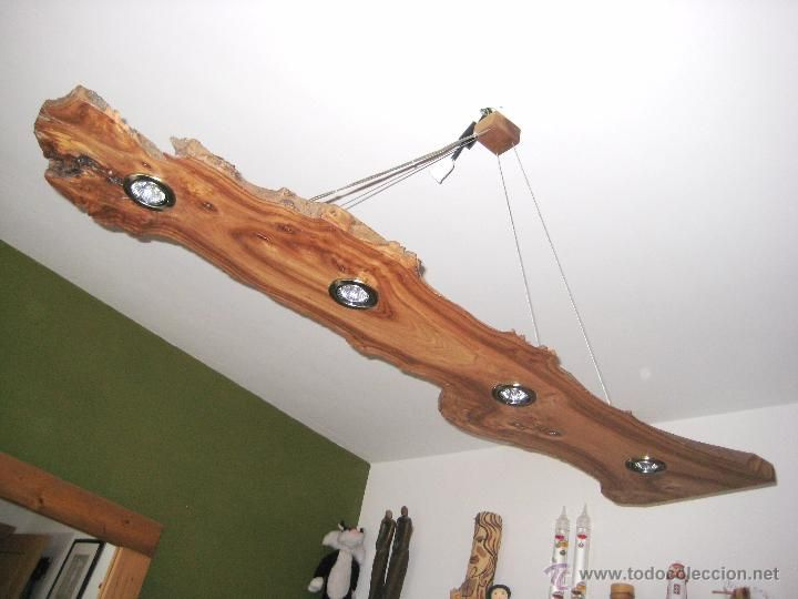 L mpara de techo en madera de olmo vintage l mparas apliques candelabros y faroles Lamparas de madera