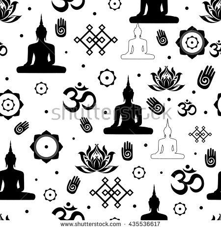 Vector Set Of Buddhist Religious Sacred Symbols In Seamless Pattern