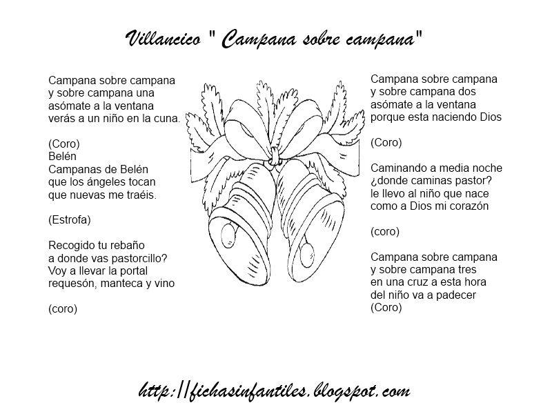 Imagenes De Villancicos Campana Sobre Campana.Fichas Infantiles Villancico Campana Sobre Campana