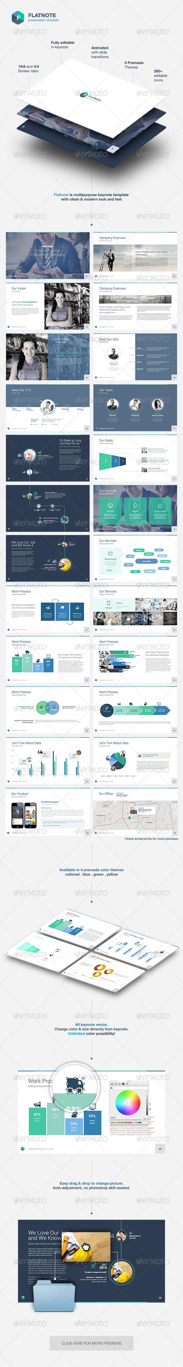 Flatnote - Business Keynote Template | Grau, Blau und Schlüssel