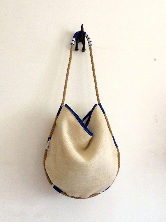 Photo of Articoli simili a borsa juta, regali per lei, con corda canapa, borse fatte a mano accessori made in italy, interno in stoffa di cotone su Etsy
