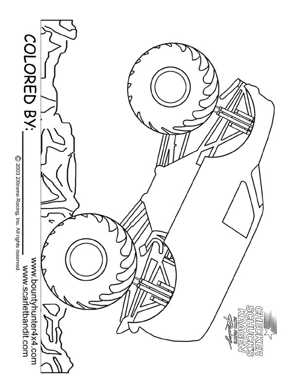 Monster truck coloring page printable | Fun activities for Kids ...