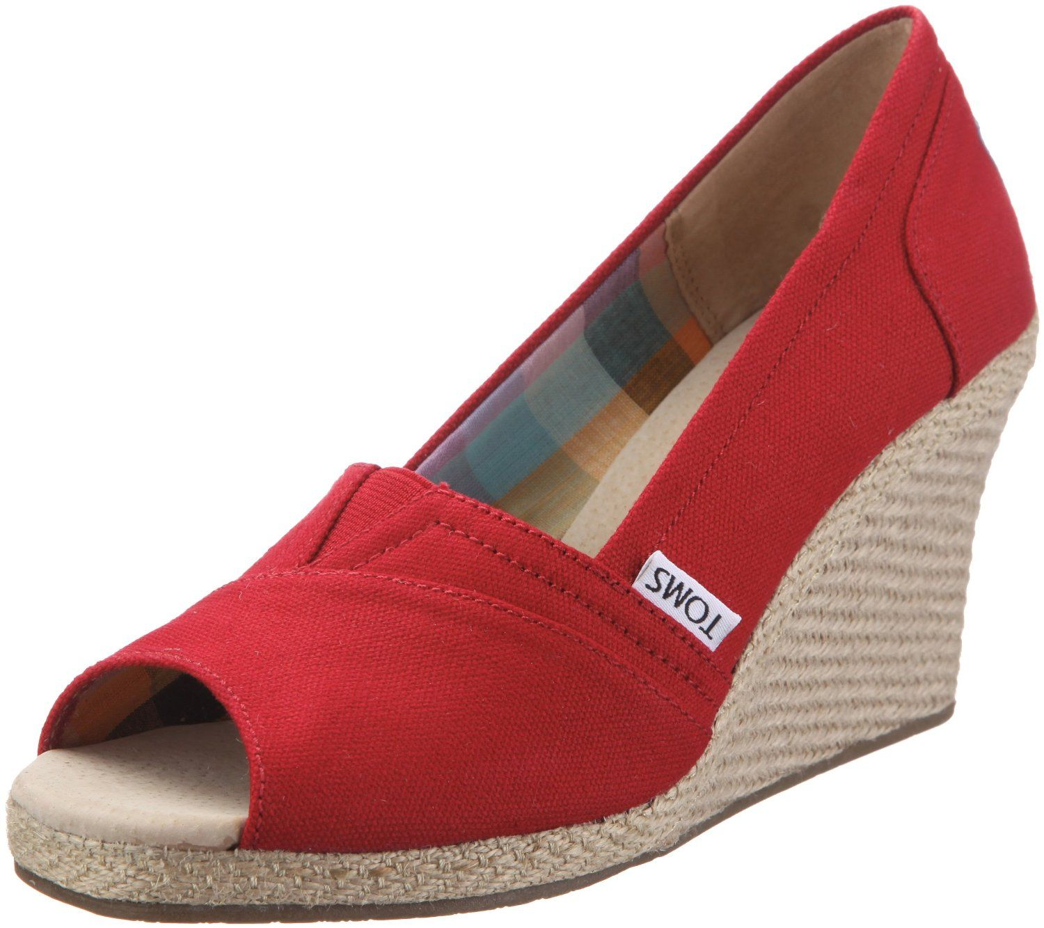 5e7cc0d20484c Amazon.com: Toms - Womens Canvas Rope Wedges In Red: Shoes | Things ...