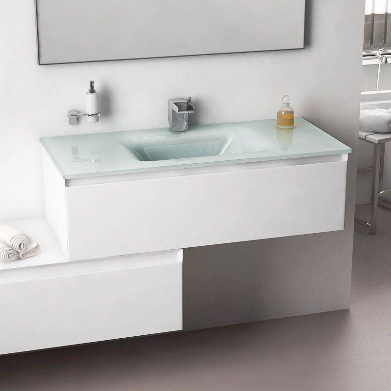Cuenca, meuble salle de bain 101 cm blanc brillant, vasque verre 3