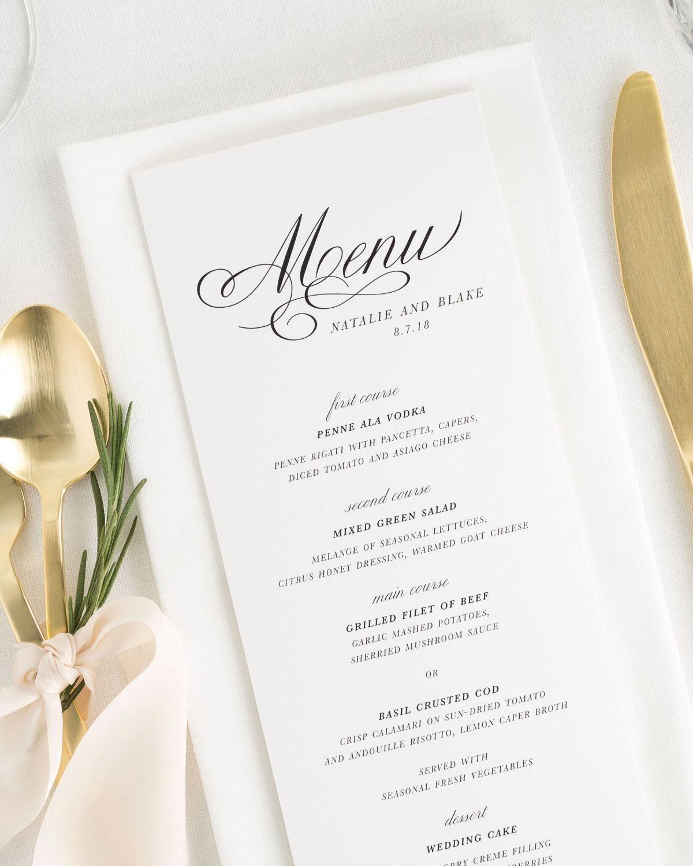 Classic Script Wedding Menus Wedding Menu Cheap Wedding Table Centerpieces Menu