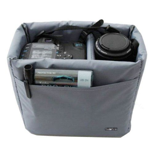 "To make any bag into a camera bag: Koolertron Waterproof Padded Foldable Partition Insert 22cm x 20cm x 11cm (9"" x 8"" x 4.5"")"