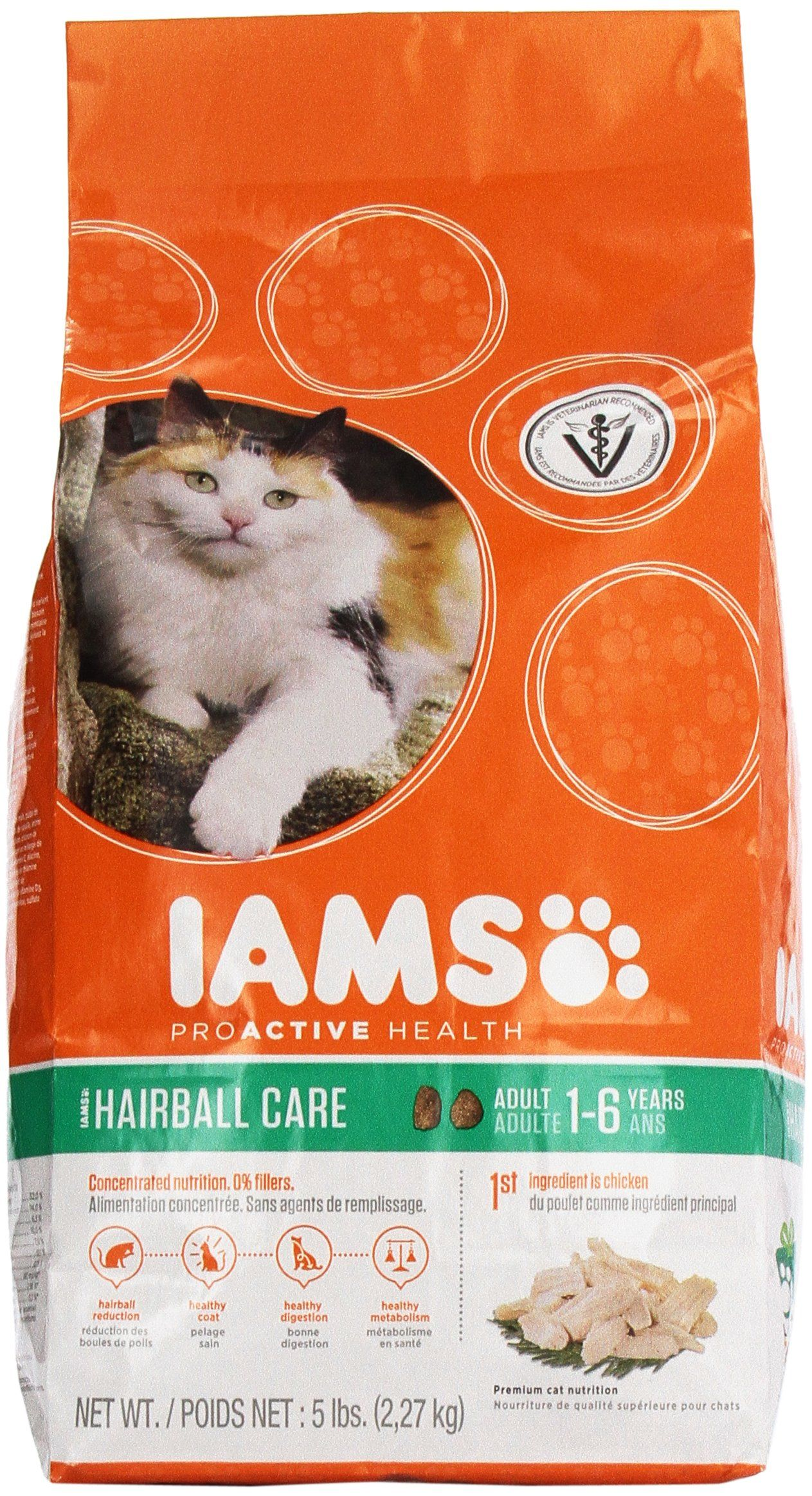 Iams proactive health adult hairball care with chicken dry