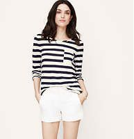 f875564a444a Petite Pieced Stripe Long Sleeve Tee - Pieced stripes elevate this linen  cotton tee to a modern cool favorite. Boatneck. Long sleeves. Contrast trim  at ...