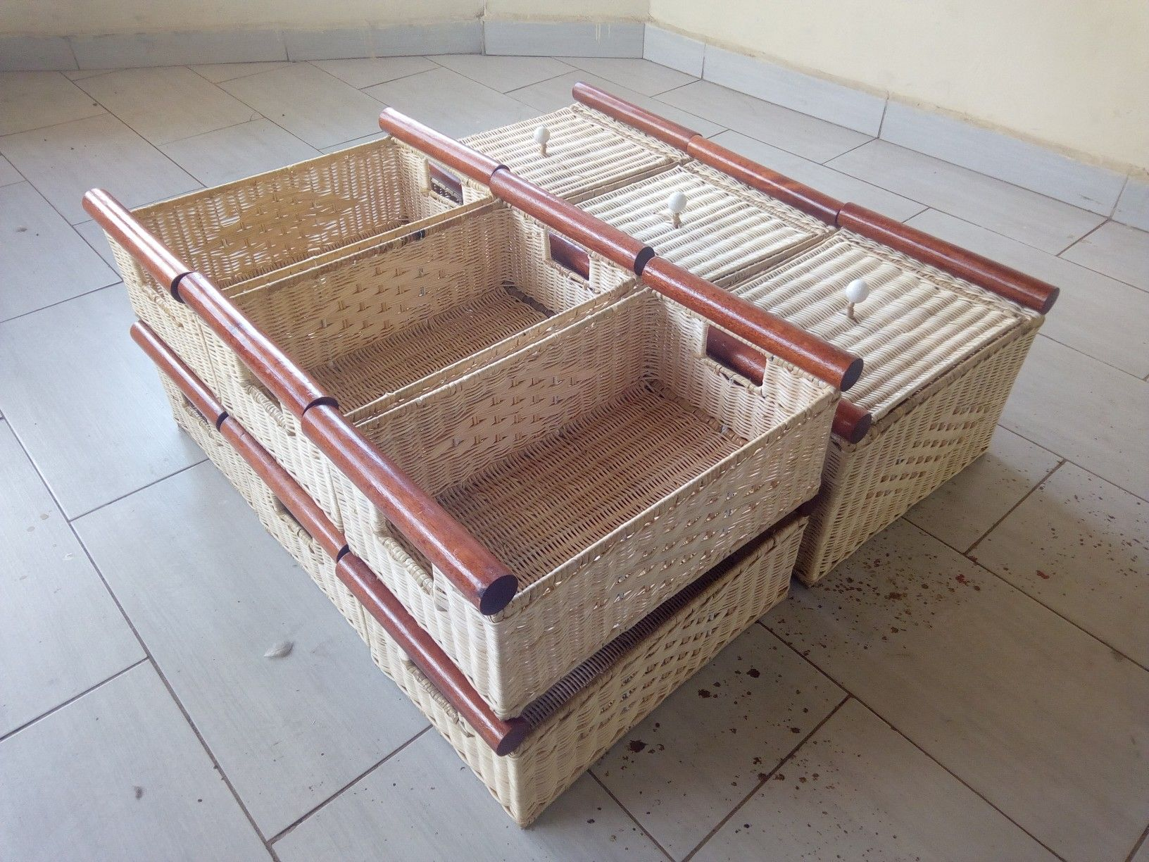 Rattan on wood laundry baskets. . @prilaga #weaving # ...