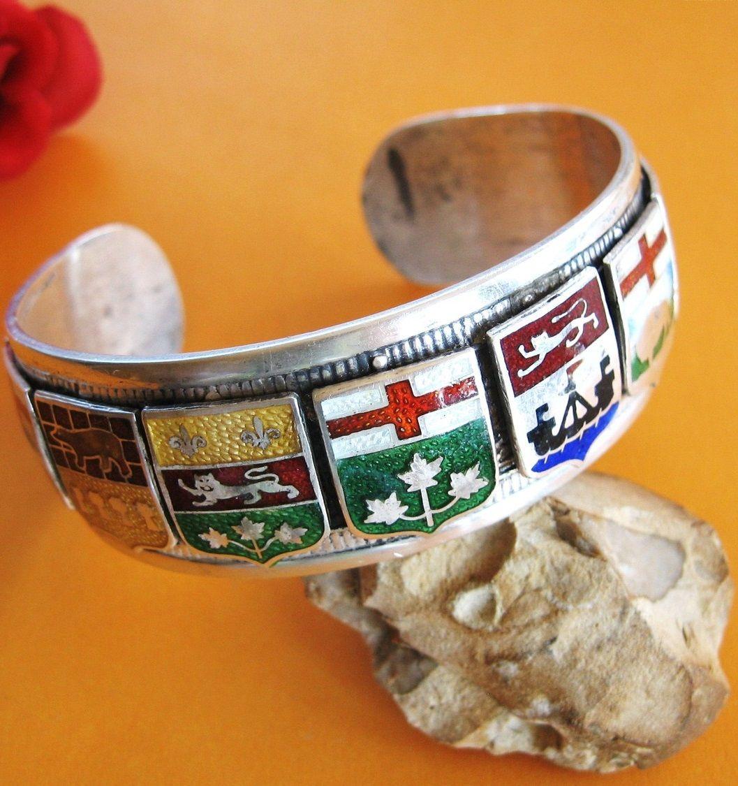 Canadian province shields [silver Canada bangle bracelet