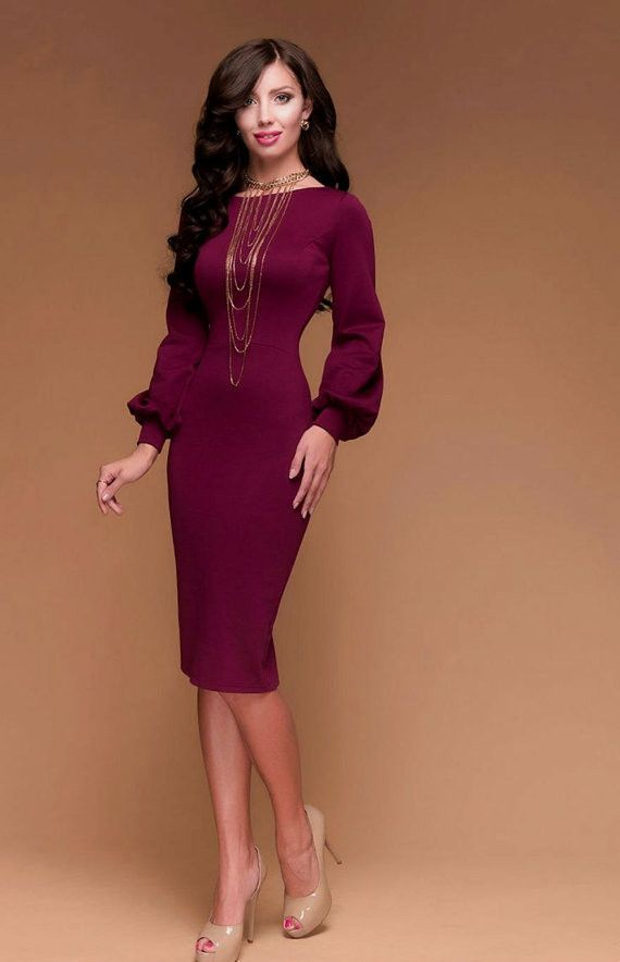 583df433f3b4 Marsala Jersey Dress.Warm Holiday Dress.Burgundy Party Dress.Open Back MIDI  Dress