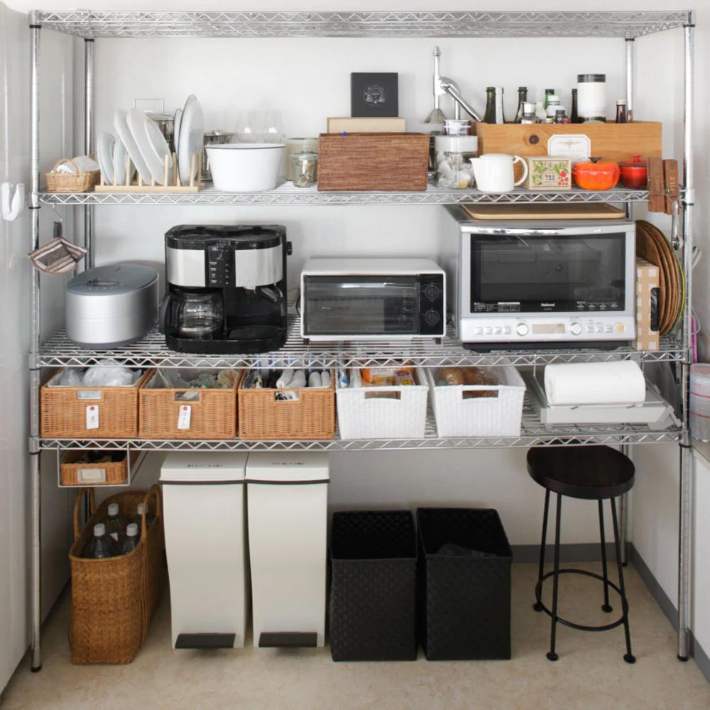 スチールラック収納 キッチンをスッキリ見せる スチールラックを使った整理収納術 スチールラック スチールラック 収納 スチールラック キッチン