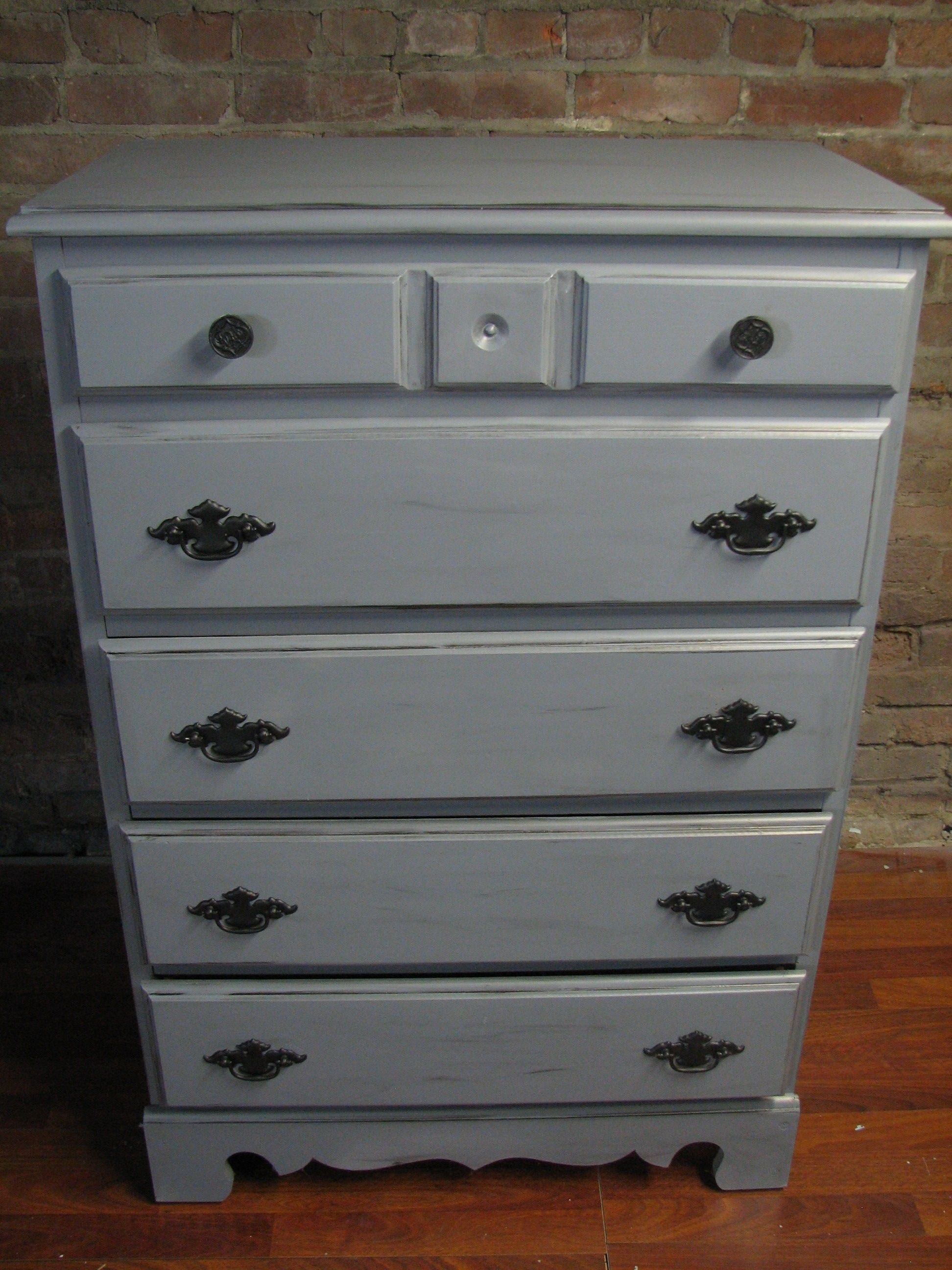 Grey Painted Dresser With Black Handles