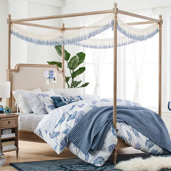 Dip Dyed Fabric Garland Coastal Bedrooms Queen Canopy Bed Canopy Bed Frame