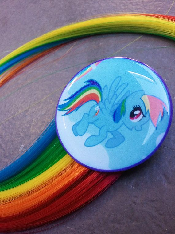 My Little Pony Inspired Rainbow Dash Hair Extension Clip Flying Mlp