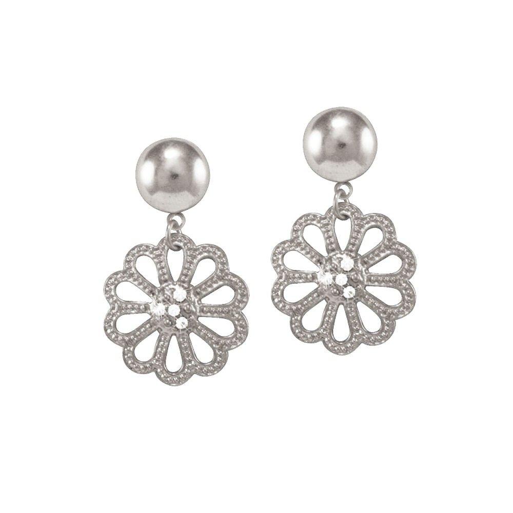 Body piercing earrings  Marguerite Clear Crystal Silver Tone Drop Pierced Earrings  Flowers
