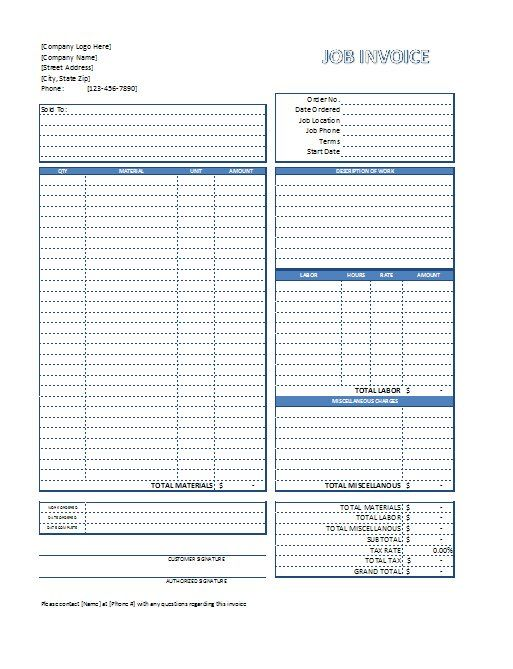 Job Invoice Template Business Tools Pinterest Template - construction estimate templates