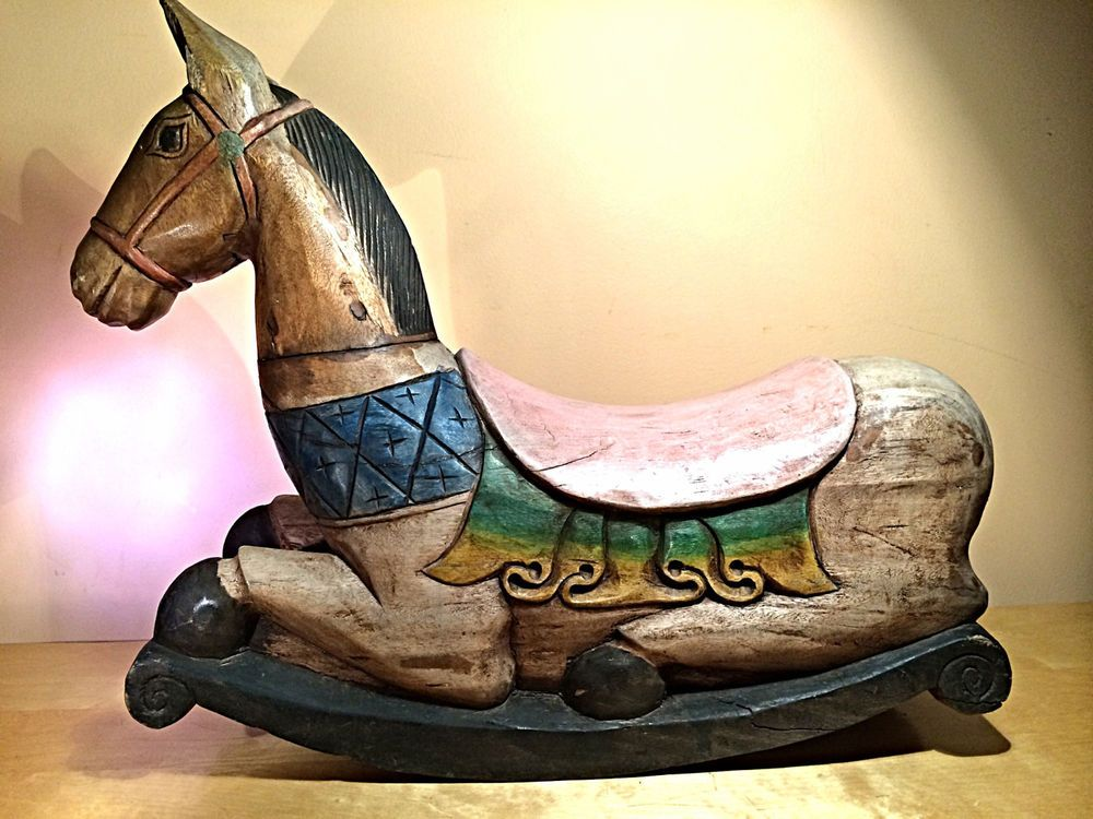 Antique hand crafted solid wood rocking horse wooden for Hand crafted rocking horse