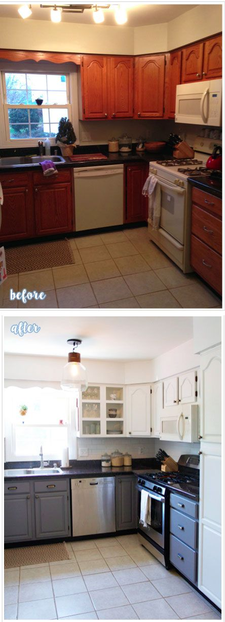 BEFORE and AFTER oak builder grade kitchen cabinets to ...