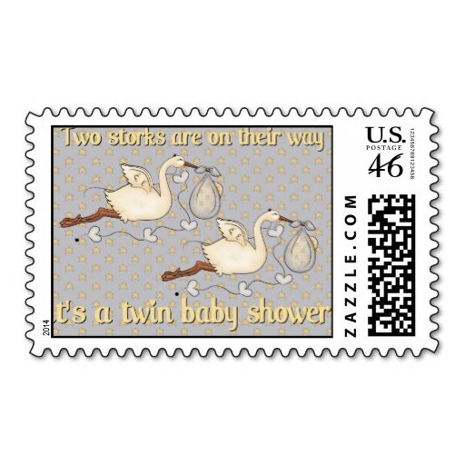 Two Storks Twin Baby Shower Postage