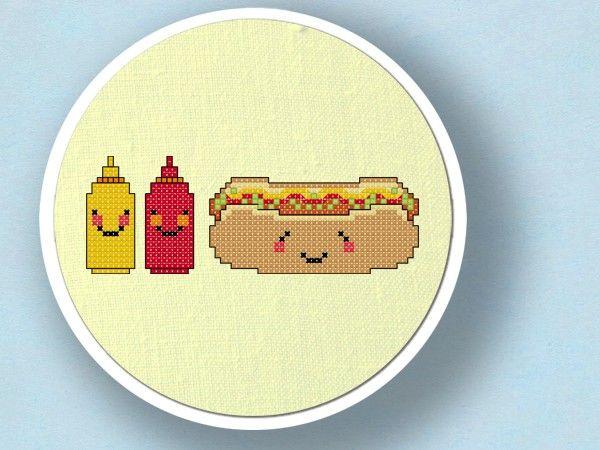Happy Hot Dog and Condiments. Cross Stitch PDF Pattern. $4.00, via Etsy.
