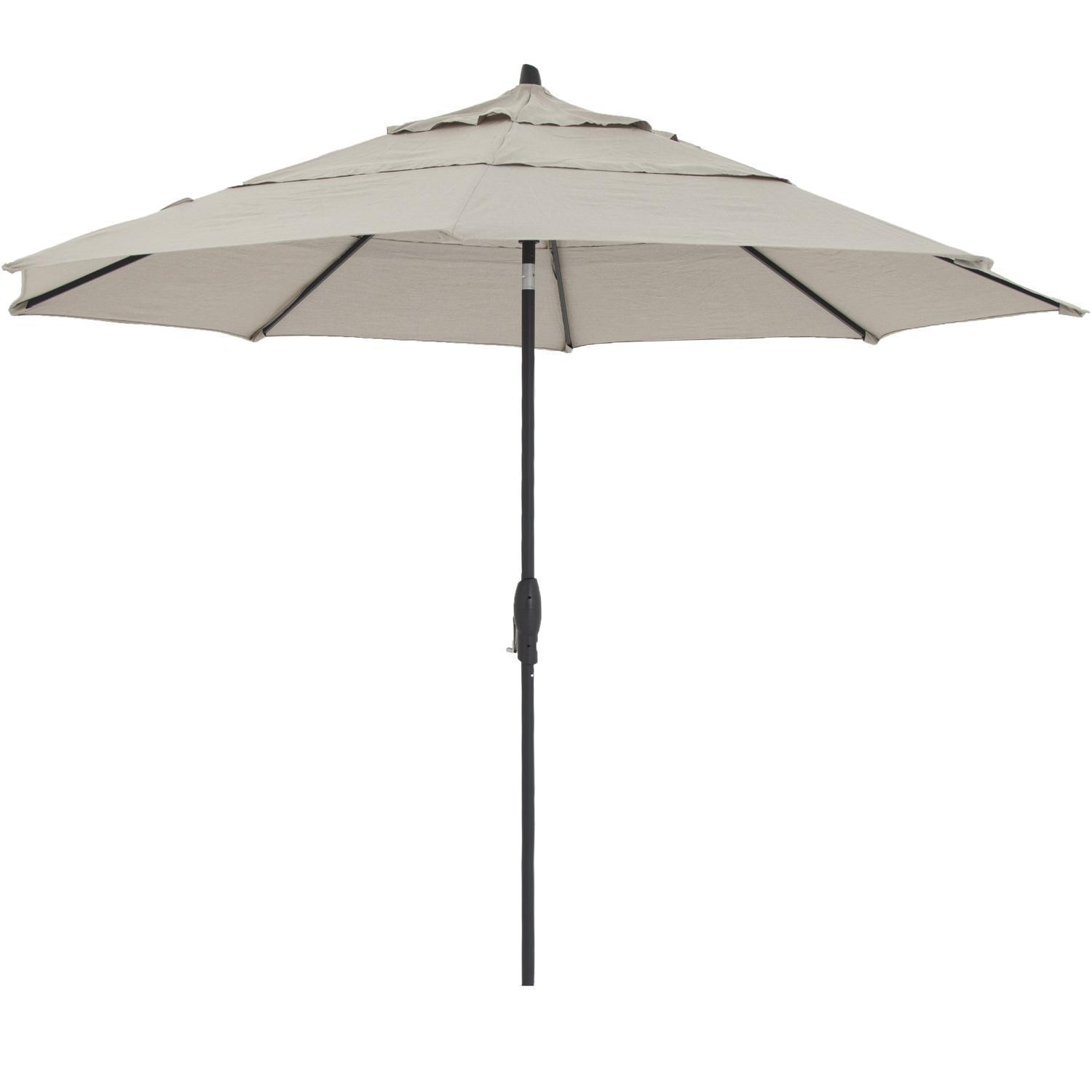 11 Ft Octagonal Aluminum Auto Tilt Patio Umbrella W Crank Lift Double Vent By Lakeview Outdoor Designs Black Frame Sunbrella Cast Ash Canopy In 2019
