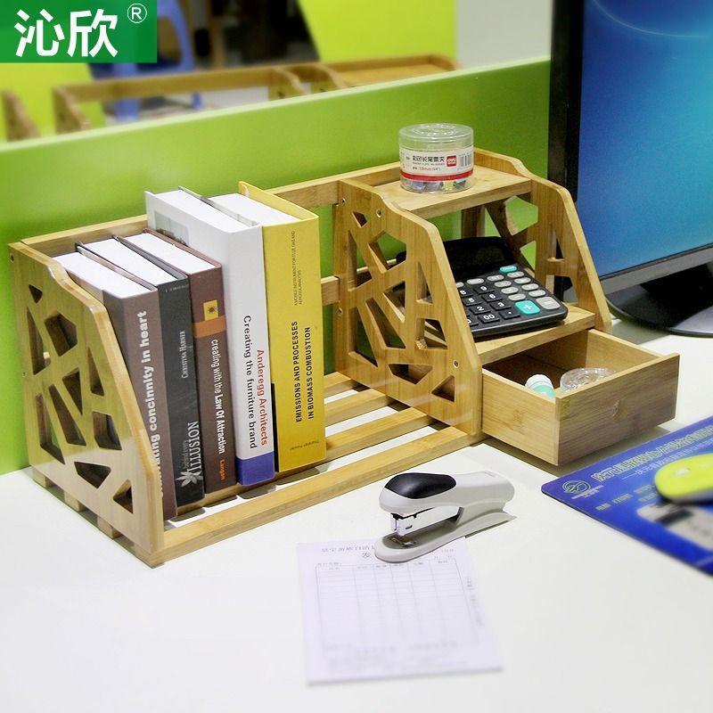 Bamboo Retractable shelves desktop bookshelf desk office