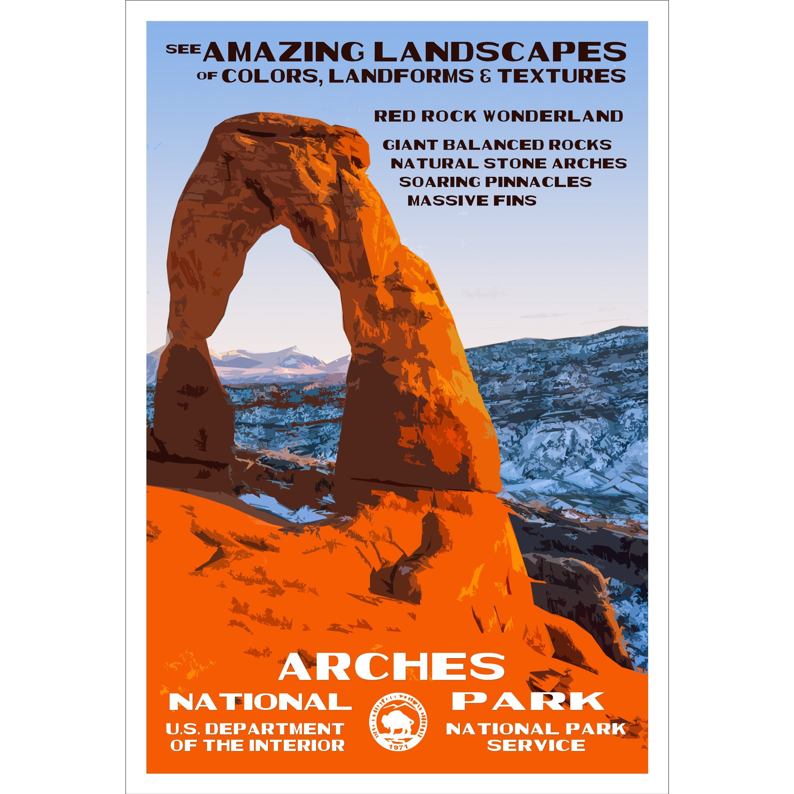 Arches National Park Poster Original Artwork 13 Quot X 19 Quot By Rob Decker W Arches National Park National Park Posters Vintage National Park Posters